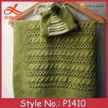 P1410 new custom baby kids green acrylic cable knitted blanket wholesale