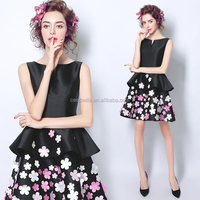 Short Style Printed Flower Black Party Prom Dress Black Cocktail Dress