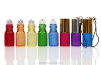 3ML Colored red\pink\blue\green\yellow\orange Glass Roll on Bottle With Aluminum Cap And metal Roller
