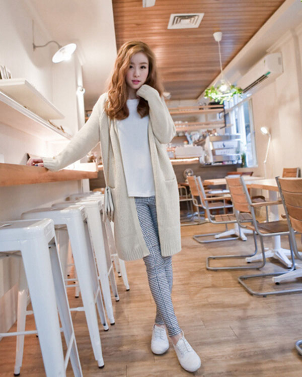 Western Style Long Sleeve Pocket Ladies Long Cardigan Pure Color Casual Knit Sweater Women Coat Fashion Loose Long Cardigan
