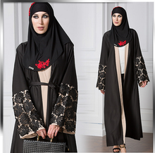 X86508A new Fashion front open abaya muslim long sleeve formal maxi dress designs