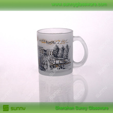 Frosted glass mug with decal printing