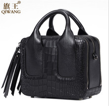 Qiwang Hot Sales Nice Women Lay Bag Genuine Italian Leather Handbags Crocodile Handags100% Genuine Leather