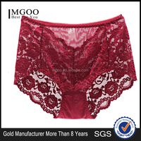 MGOO New Arrival Stock Sexy See Through Cutout Brief For Women Lace Mesh Contrast Brief Ladies Panty MBB027