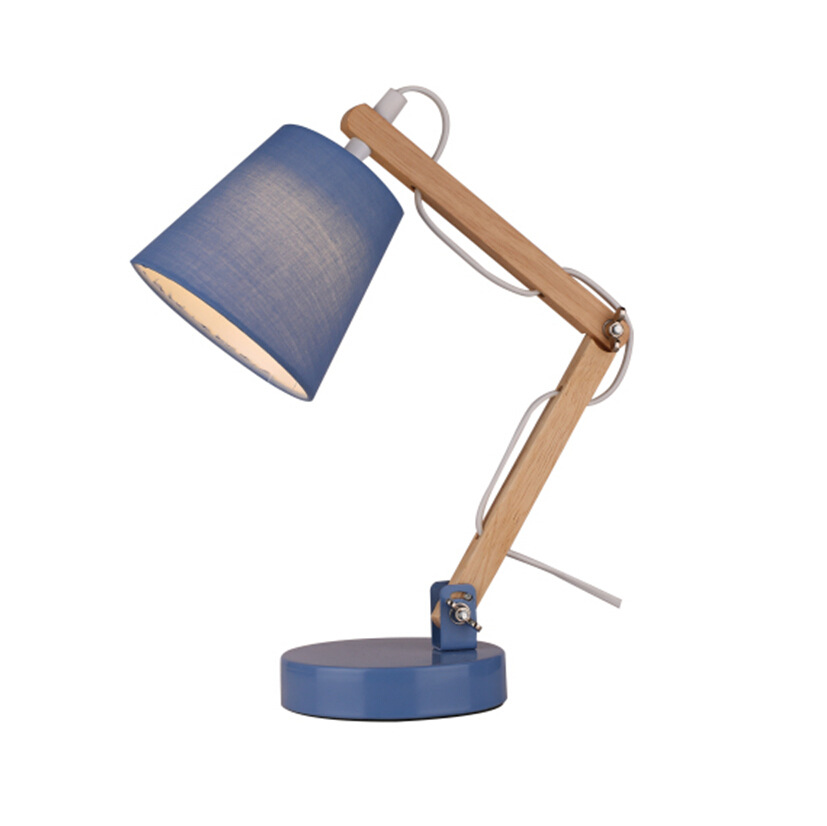 LED children wooden swing arm table lamp, metal base and fabric lampshade