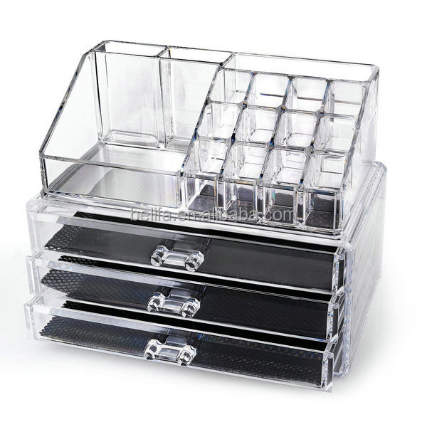 Belifa Wholesale acrylic clear makeup organizer with drawers
