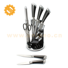 Household Collection Premium Stainless Steel Kitchen Knife Set Cutlery Knife Set with Rotating Block Stand