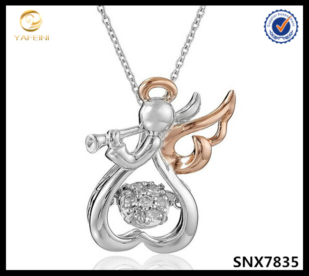 new design fly angel anatomical heart pendant necklace jewelry ,rose gold angel wings necklace for girls