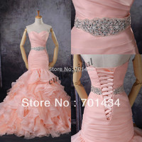 2015 hot sale Sweetheart Organza Beaded Wasitband Blush Pink Mermaid Wedding Dress lace up back cheap wedding gown