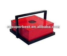 black and red acrylic display box with tray and handle