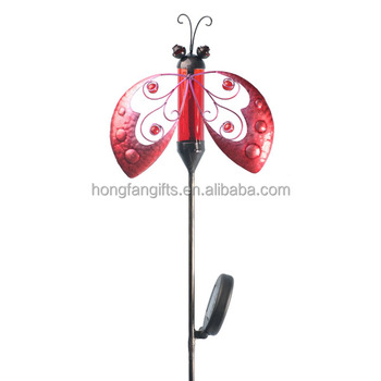 Solar Light Metal Ladybug Garden Yard Stake