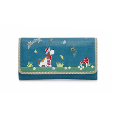 New pattern design PU leather ladies clutch wallet with cute animal embroidered