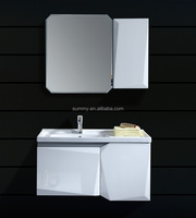 Simple White Solid Wood Bathroom Vanity Cabinet with side cabinet (SW-8983)