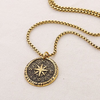 Charm Men's Compass Necklace Stamp Jewelry necklace for men