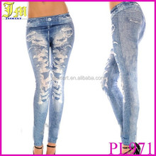 Wholesales Lady Girls Art Design Sexy Imitated Jeans Printed Leggings Sale Pants New Punk Fitness Leggins For Women