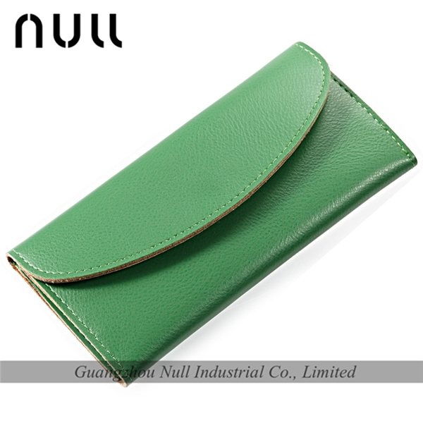 Candy color press button lady purse and woman leather wallet manufacturer