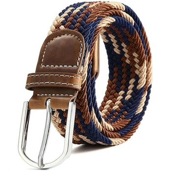 Canvas woven hole free elastic stretch belt, Unisex braided fabric belt with PU buckles