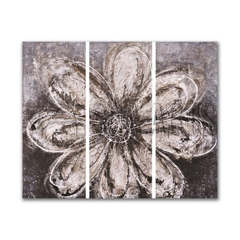 Grey Flower 3D 3 pieces Panels Painting