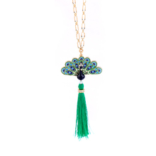 Cute Green Rope Tassel Enamel Peacock Long <strong>Necklaces</strong> & Pendants Christmas Jewelry xl00387b