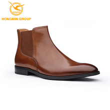 shiny full cow leather mature men shoes chelsea no lace real leather shoes fashion men boots