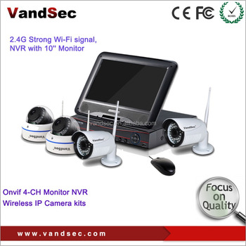 Vandsec DIY Wifi Security Camera Kit - Security Camera System Onvif IP Camera + H. 264 NVR with Built-in Monitor