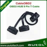 OBD 16pin OBD2 diagnostic Cable OBD2-HUB 9 Pin T Cable for Any Cars from China supplier