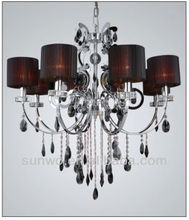 Old Fashion Cylinder-Shaped Lamp Shade Silver Cover Davit Black Crystal Pendant Light