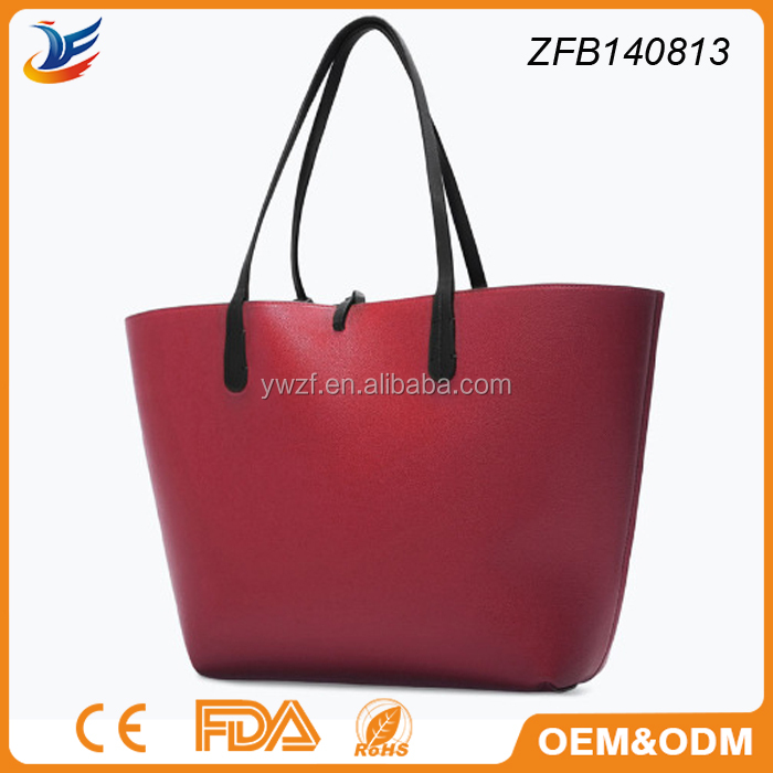 newest populer tote bag style pu shopping bag for younger mother
