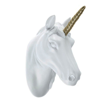 Polyresin Crafts White Animal Head Wall Sculpture Decoration Resin Unicorn