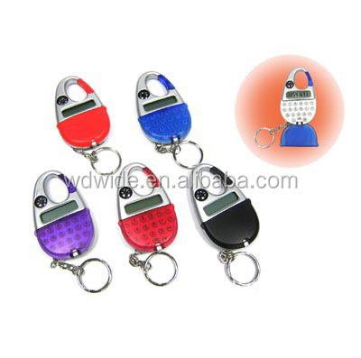 Mini 8-Digit Calculator Keychain with Digital Watch