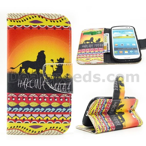 Lions Hakuna Matata Wallet Magnetic Flip Stand TPU+PU Leather Skin for Samsung Galaxy S4 IV I9500
