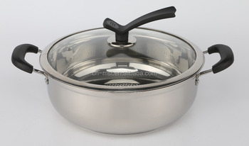 Stainless steel soup pot with two handles and glass lid