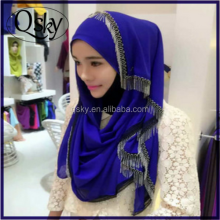 2016 Wholesale arab lace scarf stylish muslim women fashion hijab
