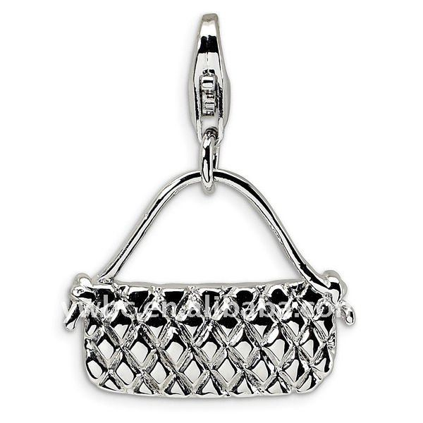 Silver polished purse charms pendants jewelry with lobster clasp