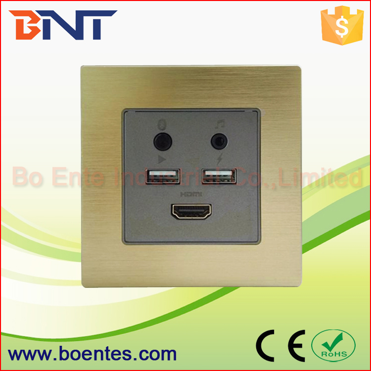 BNT Wall Mount Multiple Socket Plate / Hotel Room Media Hub with Bluetooth WIFI