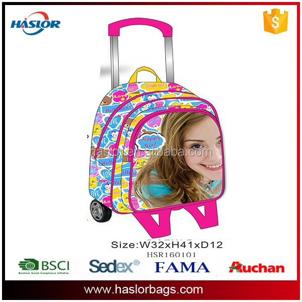 fashion kids laptop trolley school bag for girls with wheel