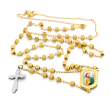 Personalized Square Beads 18 Karat Plates Stainless Steel Rosary with Jesus Image Epoxy Bless and Silver Cross Beads Necklace