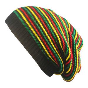 Classic Rasta Reggae Multi-colour Striped Crochet Colorful Stripes Baggy  Slouch Acrylic Beanie Hat 5aeac4b273e5