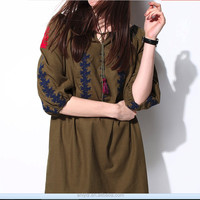 2016 lace-up army green color retro long dresses cloth embroidered tassel knitted girl fashion women dress