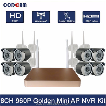 2.4ghz Wireless Camera Kit with Wifi AP Built-in Golden Super Mini NVR CCTV 8CH NVR Kit with 1.3MP Wifi IP Camera Outdoor