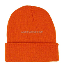 Roll Up Winter Acrylic Knit Beanie Hat Orange Plain Sports Ski Toque