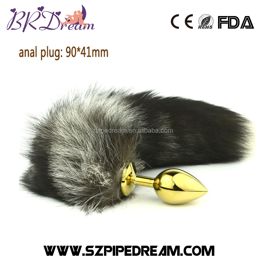 90*41mm stainless steel golden anal plug big and coarse long fox tail butt plug woman sex toys dog tails buttplug for women toy