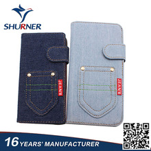 Factory wholesale jeans style fashion flip cover leather phone case for iPhone 6 7 plus X 8 Samsung galaxy note 8