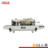 New condition automatic continuous band sealer machine/plastic film continuous heat band pp bag sealing machine