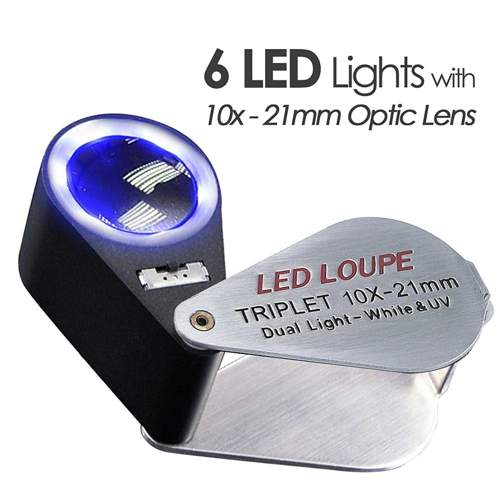 Folding White LED Illuminated Loupe Jewelry Magnifier