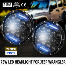 2X 7Inch 75W LED Headlight H4 H13 DRL HIGH LOW Beam for JEEP CJ JK TJ Wrangler (Fits: Jeep Wrangler)