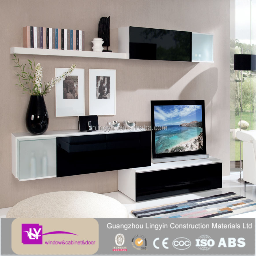 2016 modular plywood carcass high gloss wall cabinets wooden TV cabinet design
