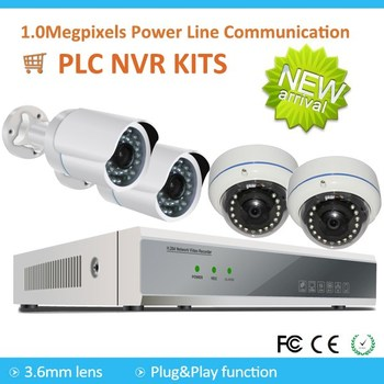Newest 4 Channels PLC WIFI 720P NVR Kits