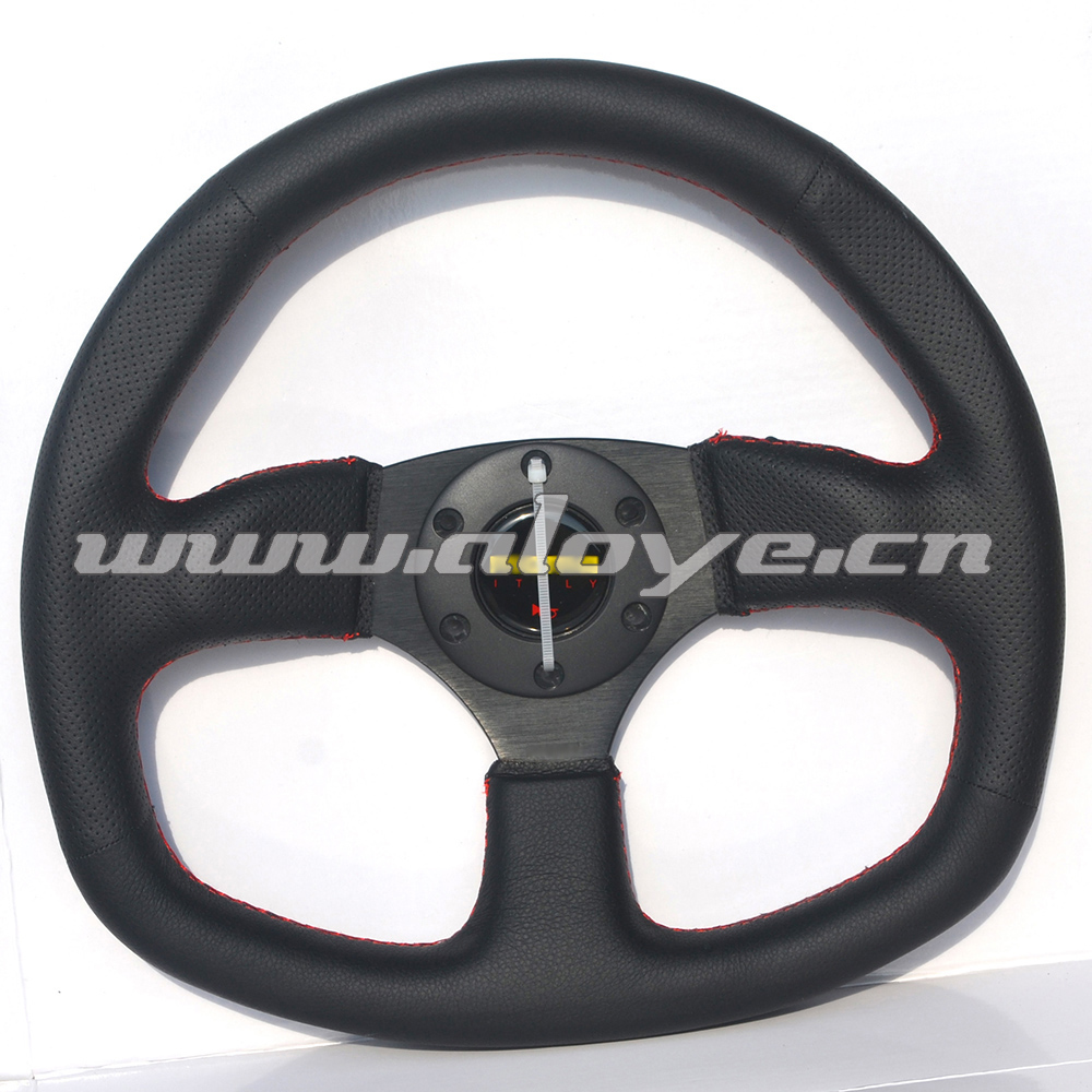 Leather Flat Car Steering Wheel 14 inch For Racing Car