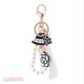 New Arrival Special Pearl Ball Key Chain With Tassel and Plastic Flower Hand Bag Accessories For Promotion Gift